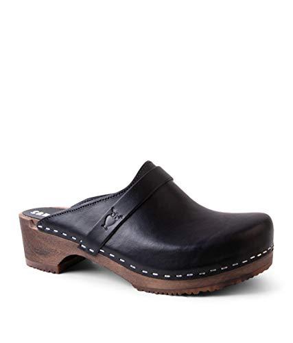 Sandgrens Swedish Low Heel Wooden Clog Mules for Women, US 9-9.5   Tokyo Black Veg DK, EU 40