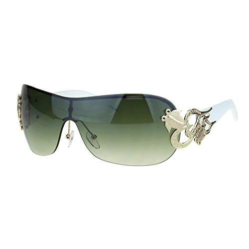(Womens Coy Metal Jewel Designer Fashion Shield Warp Sunglasses (Rimless Gold White, 2.75))