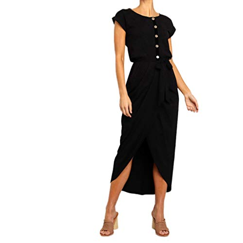 LIM&Shop  Summer Shirt Dress Short Sleeve Casual Top Side Split Pencil Dress Button Up O-Neck Maxi Dress Waist Belted Black]()