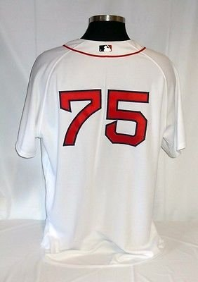 Boston Red Sox #75 Authentic White Home Jersey with 100th Anniversary Patch