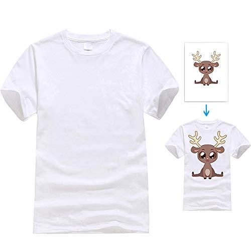 10PCS White T-Shirt Sublimation Blank Short Sleeve Halloween DIY Crewneck Washed T-Shirt, XL -