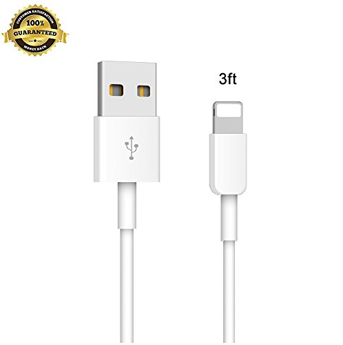 Lightning to USB Cable,Trollbane 3ft Charging Cable,Durable Fast Syncing & Compatible USB Data Cable for iPhone 7 7 Plus SE 6s Plus 6 5s 5c 5 iPad Air Mini(White)