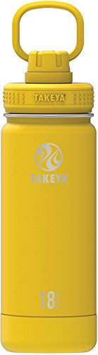 Takeya Actives Insulated Stainless Water Bottle with Insulated Spout Lid, 18oz, Solar