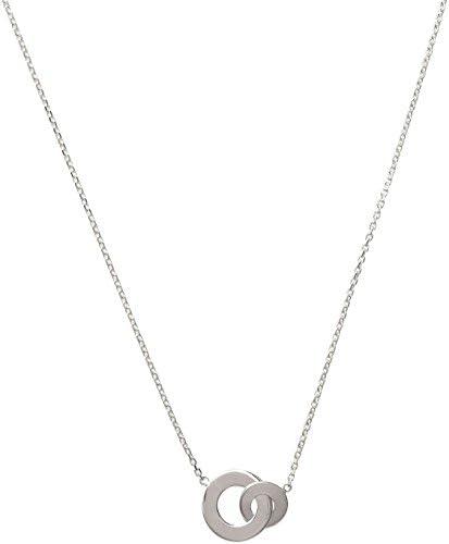 Halskette aus Sterling-Silber 925/000 – Kette mit Anhänger: 2 Ringe, rund, offen gearbeitet, verschlungen, gekreuzt – Damen-Schmuck