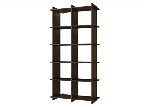 Manhattan Comfort Gisborne Collection Convenient Modern Open Double Rowed Shelf Living Room 10 Shelf Wall Mounted Bookcase, Tobacco Open Bookcase Center