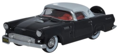 Oxford Diecast 87TH56006 HO Gauge 1:87 Scale 1956 Ford Thunderbird Raven Black and Colonial White ()