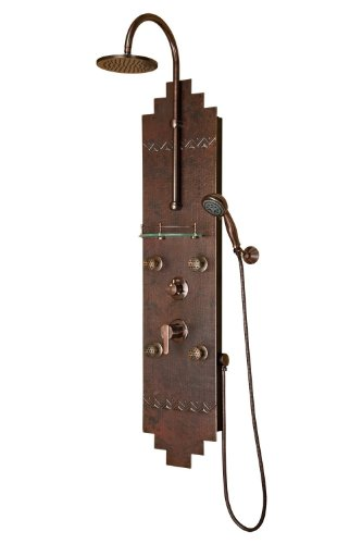 Pulse 1018 Navajo Shower Spa with Hammered Copper Brass and Oil Rubbed Bronze Hardware, Copper/Oil Rubbed Bronze