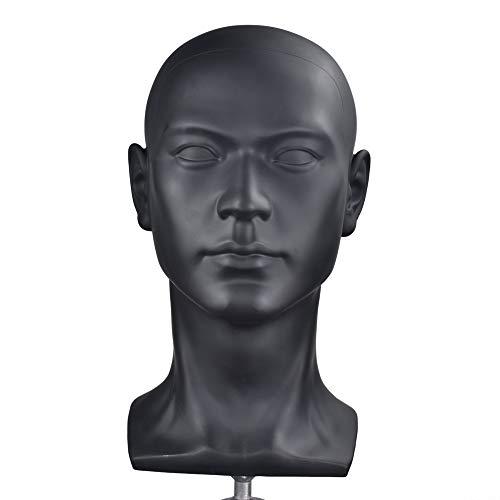 Plastic Men Mannequins Head Dummy Realistic Male Wig Mannequin Dummy Head For Hat Sunglass Display Manikin Head (Mannequin Display Head)