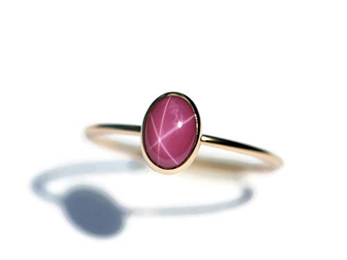 Star Ruby Ring - Oval Created Pink Star Ruby and 14K Gold Filled Skinny Ring - Sizes 5,6,7 and 8