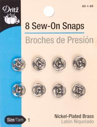 Bulk Buy: Dritz Nickel Sew On Snaps Size 1 8/Pkg 80-1-65 (6-Pack) by Dritz