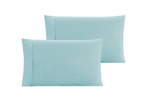 Travel Pillow Cases 14x20 Size Organic Cotton Zipper Pillow Cases Set of 2 Travel Pillowcase 600 Thread Count 100% Egyptian Cotton 2 Pack, Toddler Pillowcase Light Blue Solid Zipper Closer by beddingstar