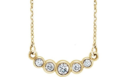 """Graduated Bezel Set Diamond Necklace in 14k Yellow Gold, 16-18"""" (1/5 Ctw, Color G-H, Clarity I1)"""