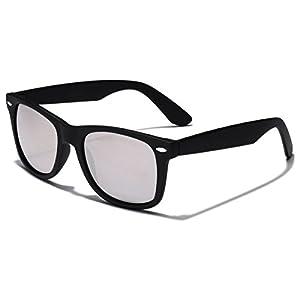 Colorful Retro Fashion Sunglasses - Smooth Matte Finish Frame - Silver Mirror Lens - Black