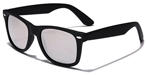 Colorful Retro Fashion Sunglasses - Smooth Matte Finish Frame - Silver Mirror Lens - Black (Smooth Style Mirror)