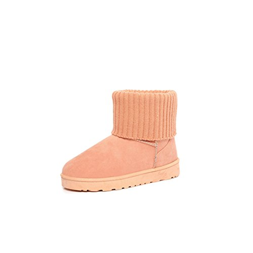 womens ladies winter Furry warmer Ankle Boots Snow Booties shoes Pink cY082Ip2yz