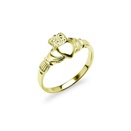 [Yellow Gold Flash Sterling Silver Claddagh Crown Love Heart Band Ring, Irish Friendship Promise Ring Size 7.5] (Claddagh Band)
