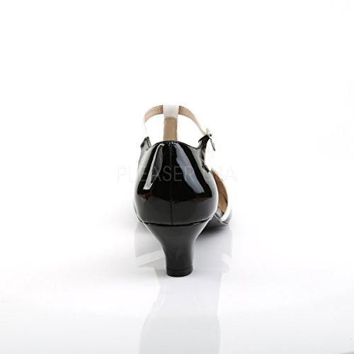 Pink Label Big Size Spangen-Pumps Fab-428 Lack schwarz/weiß Übergröße Lack schwarz-weiß