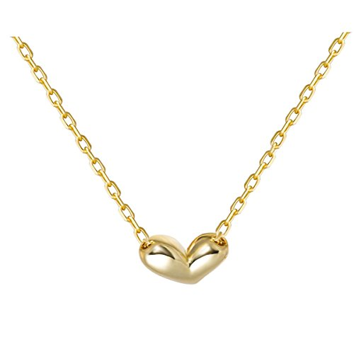 Mini Heart Necklace 925 Sterling Silver Heart Pendant Necklace Floating Tiny Necklace (gold)