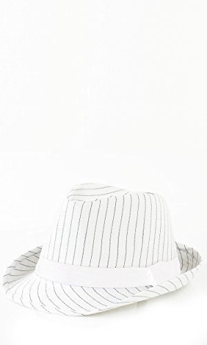 White Pinstriped Fedora Hat ()