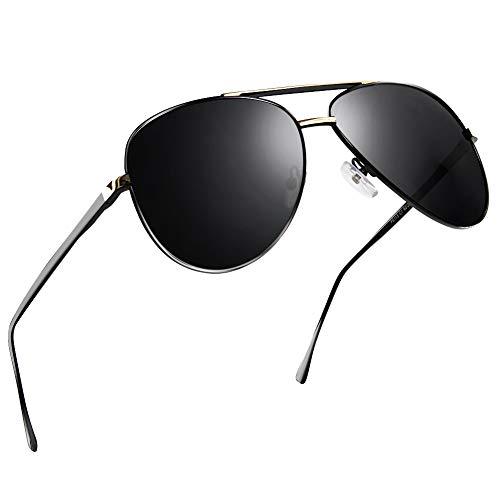 Uv400 Protection (NWOUIIAY Sunglasses Mens Aviator Sunglasses Polarized Metal Sunglass Spring Hinge Big Sunglass 100% UV400 Protection Pilot Shades)