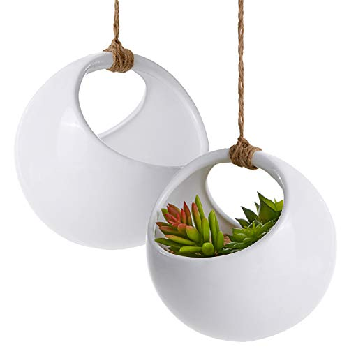 Modern Round Hanging White Ceramic Planter Pots with Jute Twine Rope, Set of 2 ()