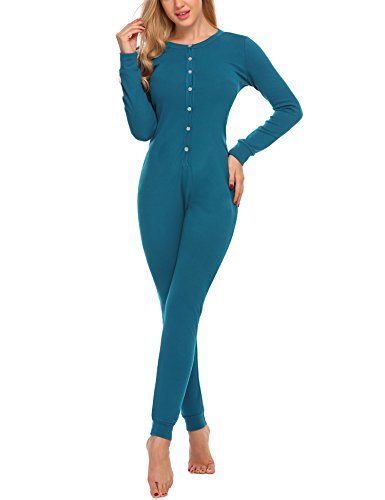 Hotouch Womens Long Sleeve Union Suit Thermal Underwear One Piece Peacock Blue -