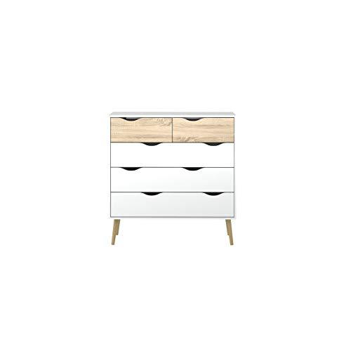 Modern Wood Bedroom Chest - Tvilum 7545649ak Diana 5 Drawer Chest, White/Oak Structure