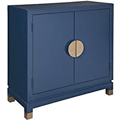 Ashley Furniture Signature Design - Walentin 2-Door Accent Cabinet - Contemporary - Blue Finish - Gold Finished Metal Doors/Feet