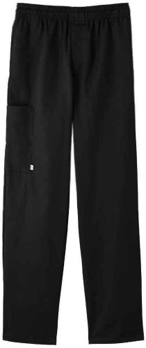 Five Star Chef Apparel Unisex Zipper Front Pant (Black, Large)