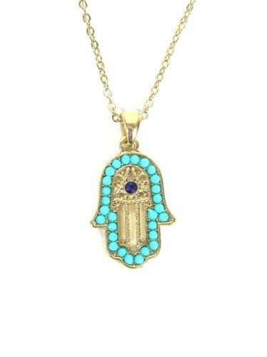 (Turquoise Hamsa Necklace Hand of Miriam Evil Eye Gold Tone NA38 Vintage Judaica Protection Amulet)