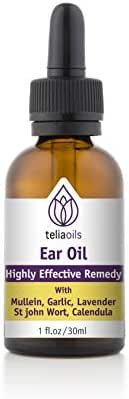 Teliaoils Organic Ear Drops Essential Oil with Garlic and Mullein - Herbal Ear Oil Remedy for Easy Earwax Removal, Pain & Ringing Relief - Natural Soothing, Deep Cleaning Properties - 1 oz.
