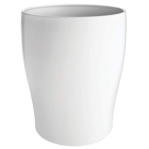 mDesign Modern Round Metal Small Trash Can Wastebasket, Garbage Container Bin for Storing and Holding Waste in Bathroom, Kitchen, Home Office, Craft Room, Laundry Room - Solid Steel - Matte White