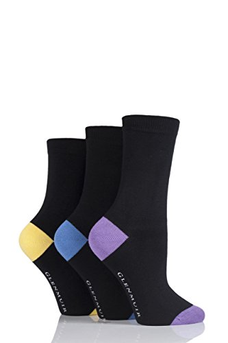 Ladies 3 Pair Glenmuir Classic Plain Bamboo Socks with Contrast Heel and Toe - Lilac/Blue/Yellow 6-10 US Contrast Stockings