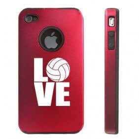 Apple iPhone 4 4S 4 Red D2973 Aluminum & Silicone Case Cover Love Volleyball