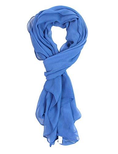 (Long Chiffon Sheer Scarf For womens (COBALT BLUE 711))