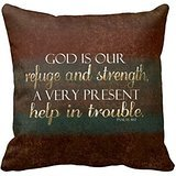 God Is Our Refuge Christian Bible Verse Brown Gold Throw Pillow Case 18″ 18″