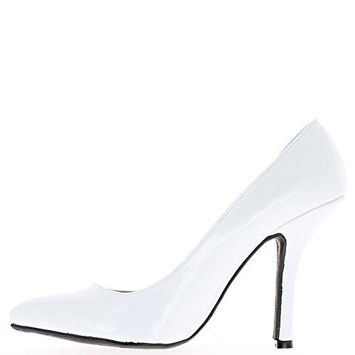 Tacones de uñas blanco de gran tamaño zapatos de 12cm abierta en el lado