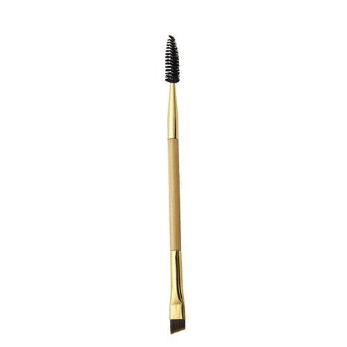 1PCS Makeup Bamboo Handle Double Eyebrow Brush + Eyebrow Comb (Pack of 1) (Eyebrow Brush)