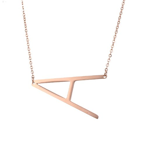 (DIANE LO'REN 18kt Rose Gold Plated Women's Classic Stainless Steel Big Letter Necklace Sideways Initial Chain Script Pendant Name Long Necklaces for Women (Rosegold Letters A-Z))