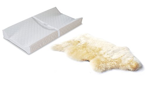 Babyhaven Nursery Bundle: 2-Sided Contoured Changing Pad with UnShorn Sheepskin Baby Rug by Babyhaven