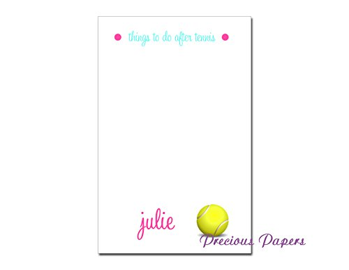 Personalized tennis note pad, tennis stationery, tennis notepad, ladies tennis gift by My Precious Papers