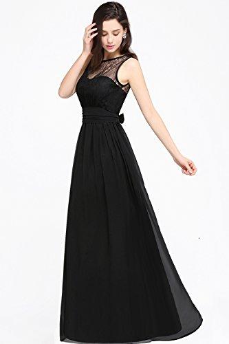 ... Babyonlinedress Vestido de chiffón larga para fiesta cuello redondo sin  mangas espalda semicubierta estilo A line ... 3b512641d4bf