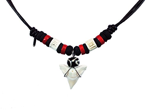Exoticdream Real Shark Tooth Necklace Rasta Surfer Hawaiian Beach Boys Girls Color Beads (RED)