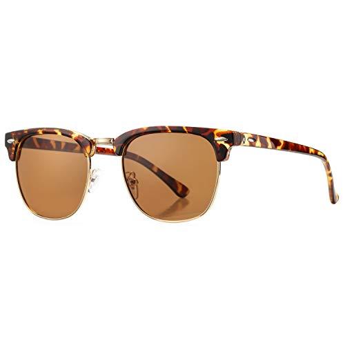 (Pro Acme Classic Semi Rimless Polarized Sunglasses with Metal Rivets (Tortoise/Brown))
