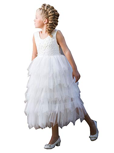 Big Girls White Floral Bodice Tired Skirt Floor Length Junior Bridesmaid Dress 8 from Just Couture
