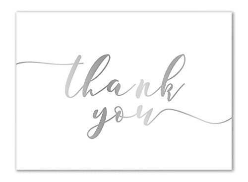 Thank You Cards - 120-Pack Thank You Notes, Gradient Handwritten Design, Bulk Cards Set for Wedding, Baby Shower, Birthday, Blank on the Inside, Includes Envelopes, White, 3.75 x 5 Inches by Sustainable Greetings