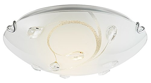 Modern White Glass Flush Mount Ceiling Light Fitting with Transparent Droplets by ()