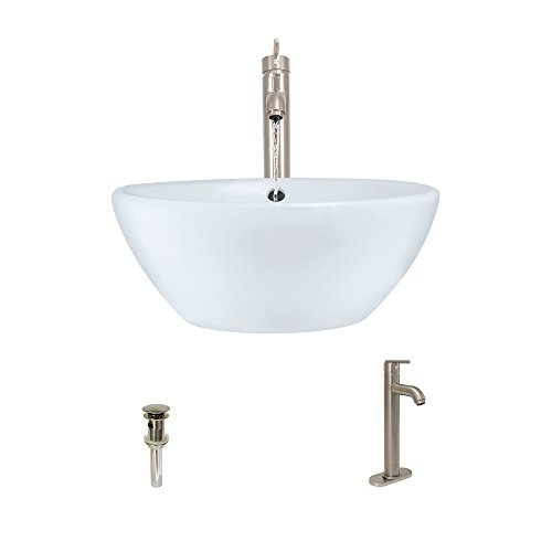 Nickel Porcelain White - V2200-White Porcelain Vessel Sink Brushed Nickel Ensemble with 718 Vessel Faucet (Bundle - 3 Items: Sink, Faucet, and Pop Up Drain)