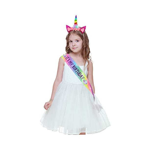 Unicorn Birthday Girl Set, Beinou Shiny Unicorn Headband and Birthday Girl Sash Set Perfect Unicorn Birthday Party Supplies 5