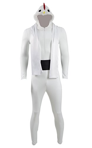 Halloween Attack of Chicken Costume White Jumpsuit Men's Halloween Chicken Costume (Custom-made, (Custom Made Halloween Costumes For Men)